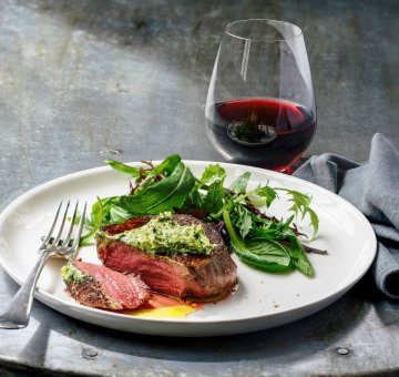 Perfectly cooked eye fillet and a glass of Cabernet Franc