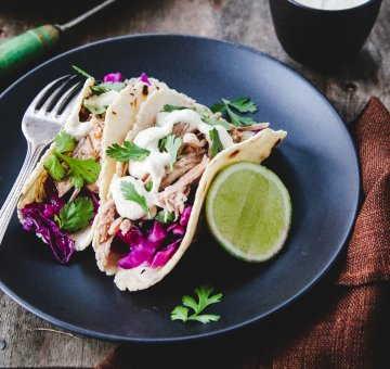 Slow-cooked Pulled Pork Tacos with Red Slaw
